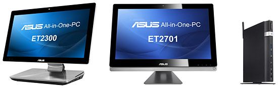 上段左から「All-in-One PC ET2300INTI」「All-in-One PC ET2701INTI」、下段は「EeeBox PC EB1035」